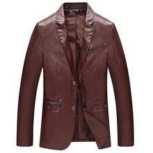 Red Leather Jacket Men Burgundy Thin Sheep Skin Coat 4XL Single Breasted Man High Quality Black Brown Pu Suede Jackets