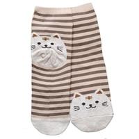 Fashion 6 Pairs Striped Cat Socks Women Footprints Cotton Socks Floor