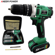 цена на 20V Impact Drill Electric Screwdriver Electric Hand Drill Battery Cordless Hammer Drill Home Diy Power Tools