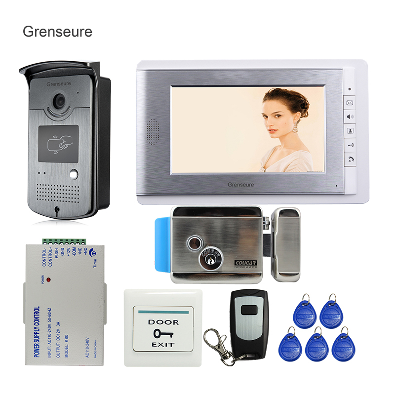 FREE SHIPPING Wired 7 Video Intercom Door Phone System With RFID Access Door Camera + Electric Control Lock In Stock Wholesale free shipping 7 lcd video door phone intercom system 2 screens rfid access code keypad password camera electric control lock