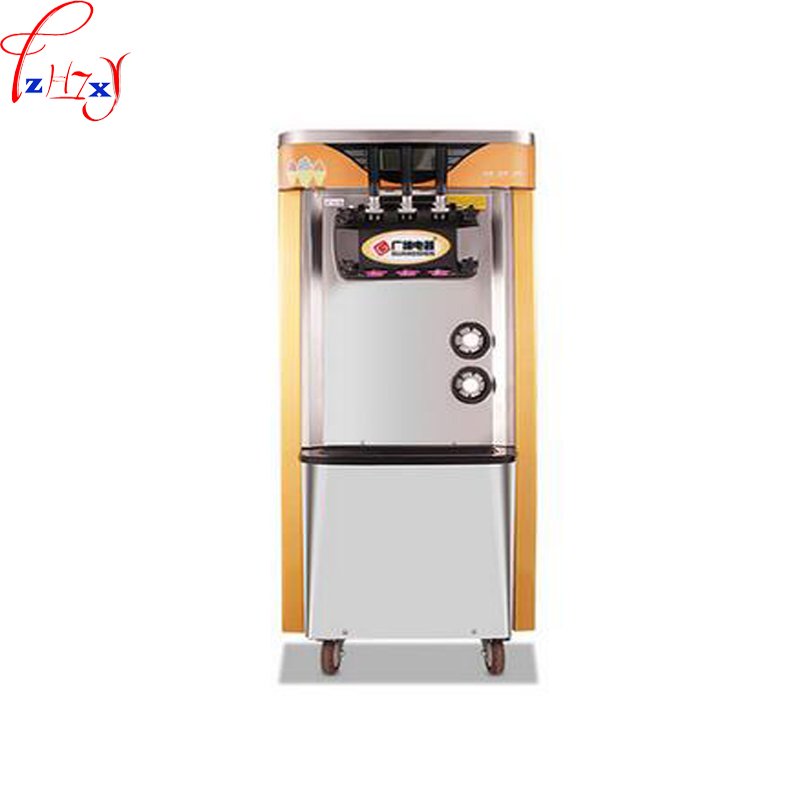 Commercial 2100W Soft Ice Cream Machine Automatic Vertical All Stainless Steel 3 - Color Soft Ice Cream Machine