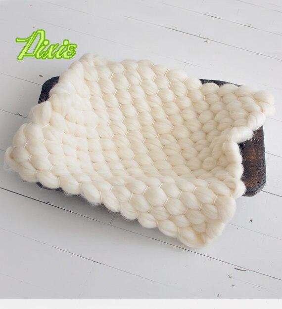 Hot 55 * 45 см природный мериносовой шерсти пух ручной работы мягкая шерсть новорожденный фотографии реквизит шерстяное одеяло корзина писака