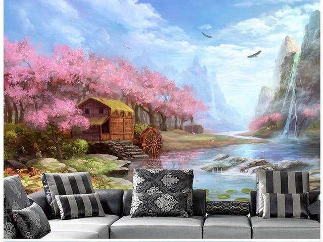 Beroemd Mooi landschap schilderen grote woonkamer sofa achtergrond 3d #IS83