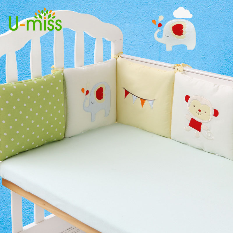 U-miss Baby Bed Bumpers 100% Cotton Stars Bed Around Cartoon Bedding Set Embroidery Comfortable Back 6 pcs