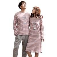 New Autumn Winter Couple Pajamas Cotton Warm Long Sleeve Round Neck Female Nightgowns Male Pyjamas Plus Size Lovers Sleepwear