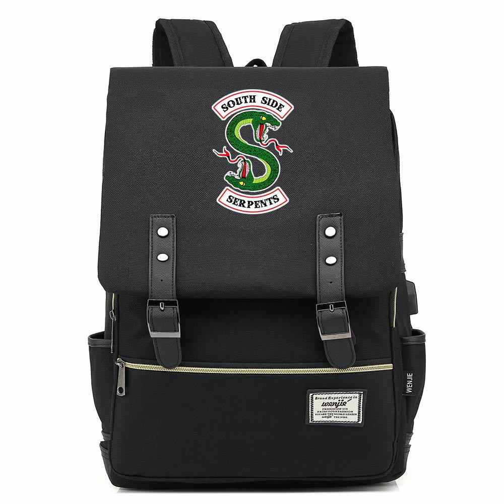 16 Inch Riverdale Southside SERPENT Designer Backpack Book Bags Shoulder Bag Travel Backbags USB Port Belt Buckle Mochila