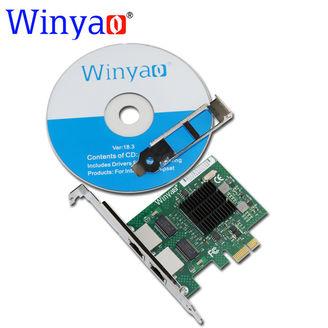 Winyao E575T2 двухпортовый PCI-E X1 Gigabit Ethernet Сетевая Карта 10/100/1000 Мбит СЕТЕВОЙ Адаптер Контроллер проводной intel 82575 E1G42ET
