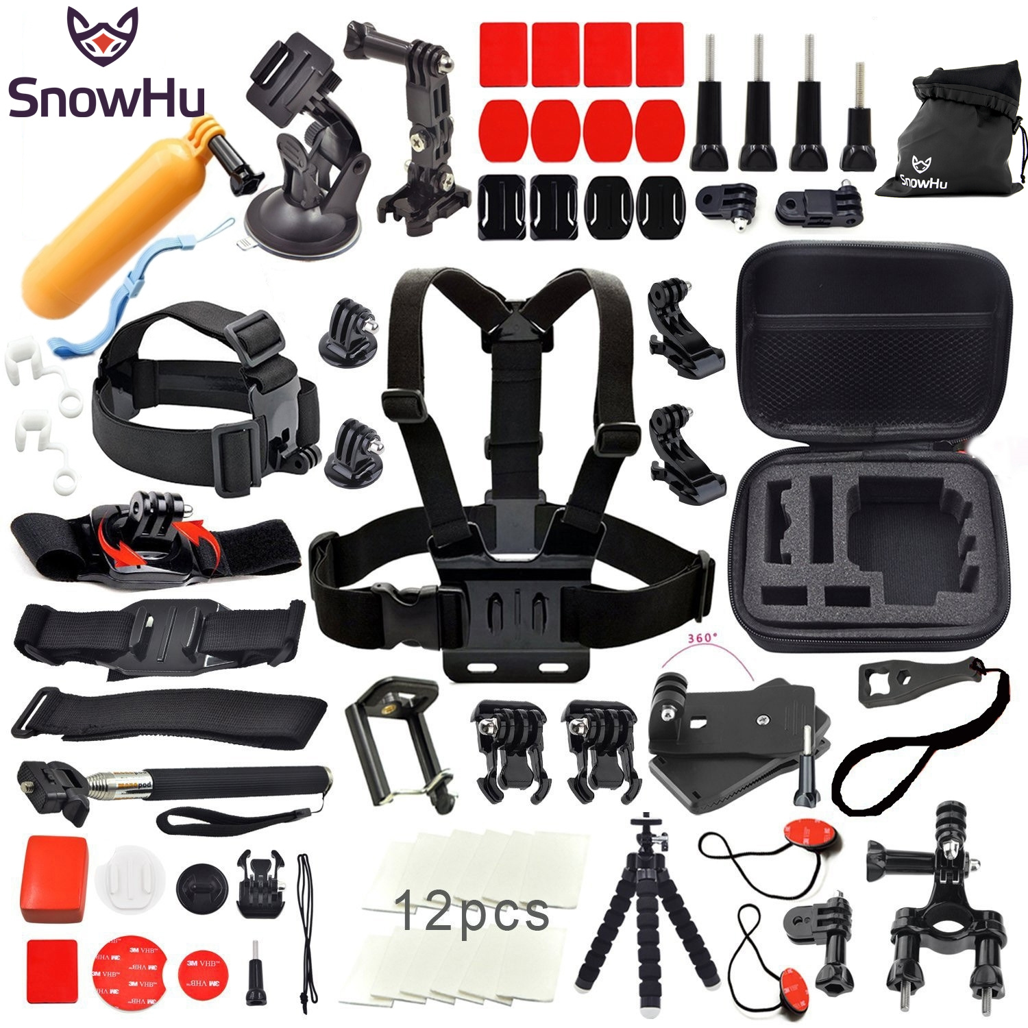 SnowHu For Gopro hero 6 5 4 Accessories Set Helmet Harness Chest  Strap Monopod Go pro Hero 6 5 4 3 xiaomi yi 2 4K SJCAM M10 Y12