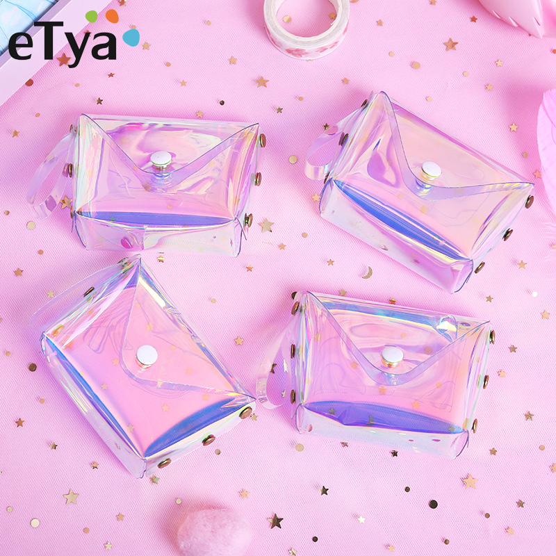 eTya Transparent Coin Purse Women Small Wallet Female Change Purses Mini Children's Pocket Wallets Key Card Holder PVC Hand bags genuine leather coin purses women small change money bags pocket wallets female key chain holder case mini pouch card men wallet
