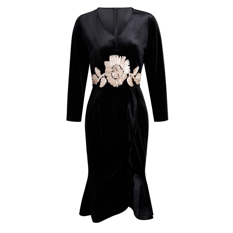 À Noir bourgogne Broderie Longues Femmes De cou Manches Fleur V Robes Robe Sirène Velours Designer Mode Vintage 9Y2WIEeDH