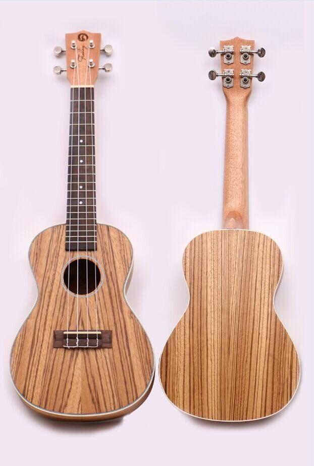 Finlay 23 ukulele,Acoustic ukelele with nylon bag,Full Zebrawood top/body hawaii guitars,FU-B93
