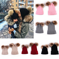 Puseky Fashion Family Match Knit Hat Mother Baby Women Kid Winter Warm Crochet Cap 2pcs Set