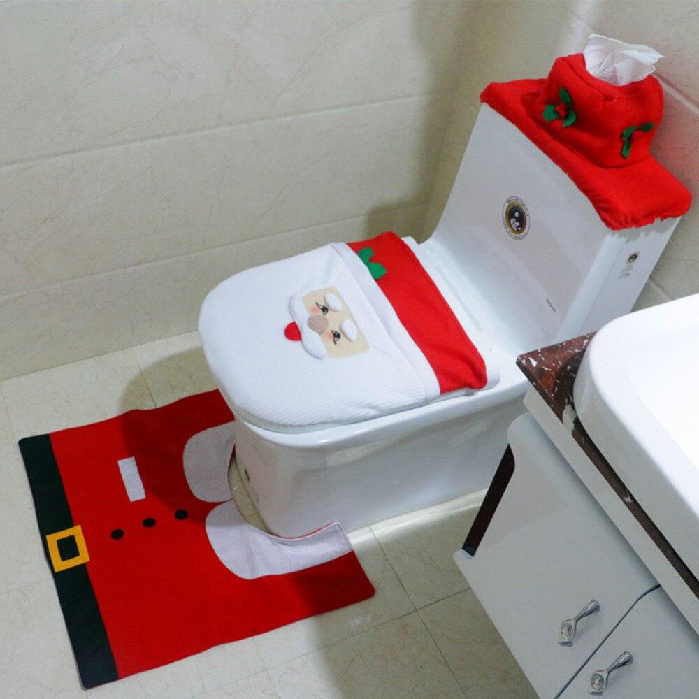 Christmas Santa Claus Snowman Bathroom Set Toilet Seat Set Cover Rug Water Tank Cover De ...