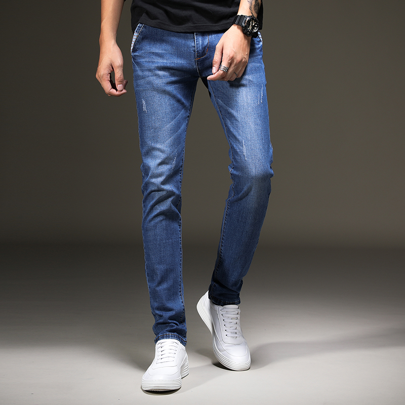 Kowaunkeenly 2018 new arrival High-quality Brand mens jeans,blue simple Stretch casual jeans pencil pants men,size 27-36.