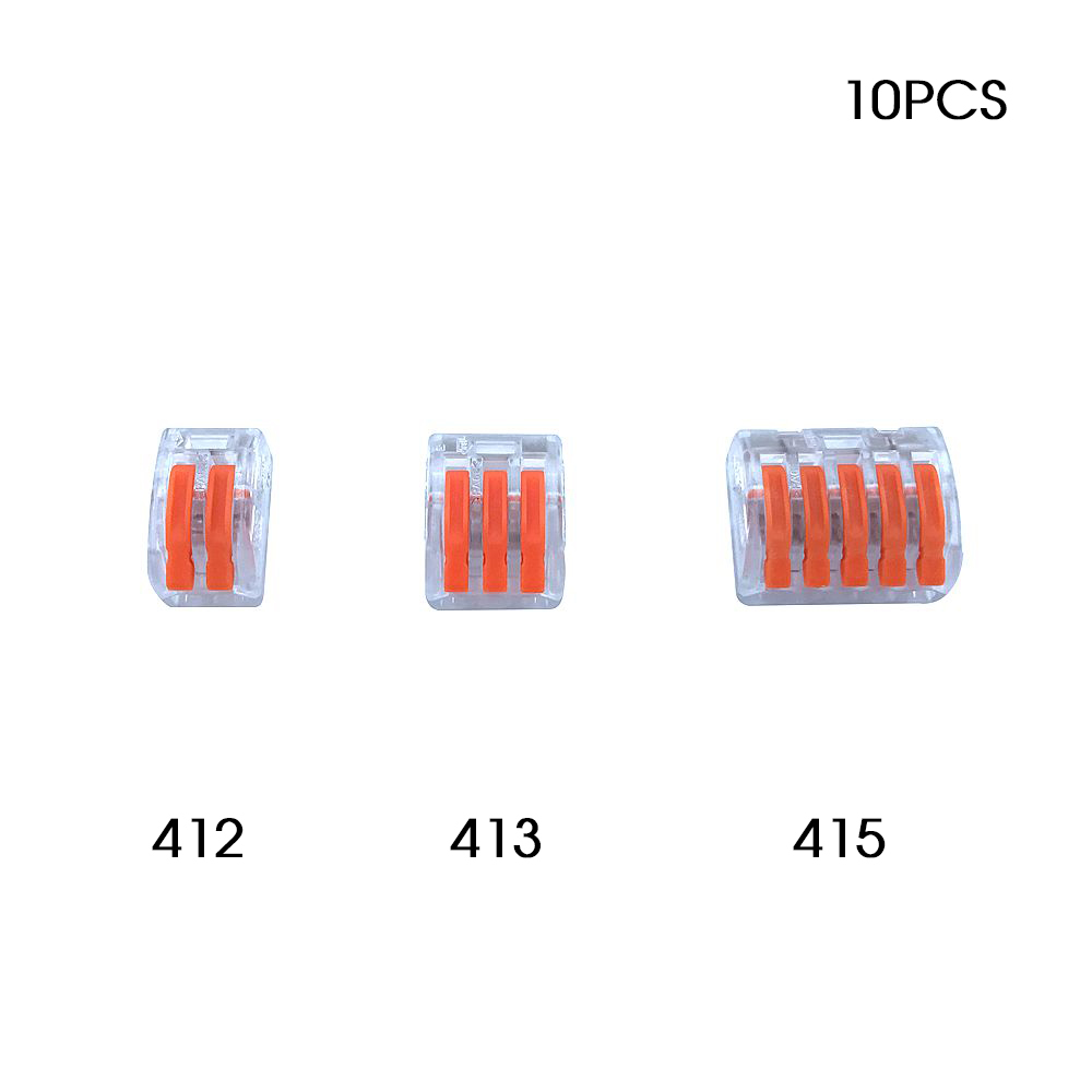 Wago Type Wire Connector 222 Series 10PCS Lucency Cage Spring Universal Fast Wiring Conductors Terminal Block High Quality China 10pcs lot 5set t type red soft fast electric wire connecting terminal without breaking line connector non destructive connector
