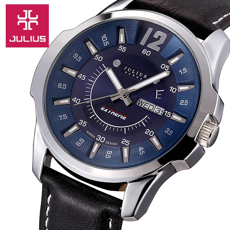 Prix pour Hot Célèbre Marque Julius montres Hommes de sport Quartz Montre Homme De Mode Robe bracelet En Cuir Montre-Bracelet relogio masculino JAH-017