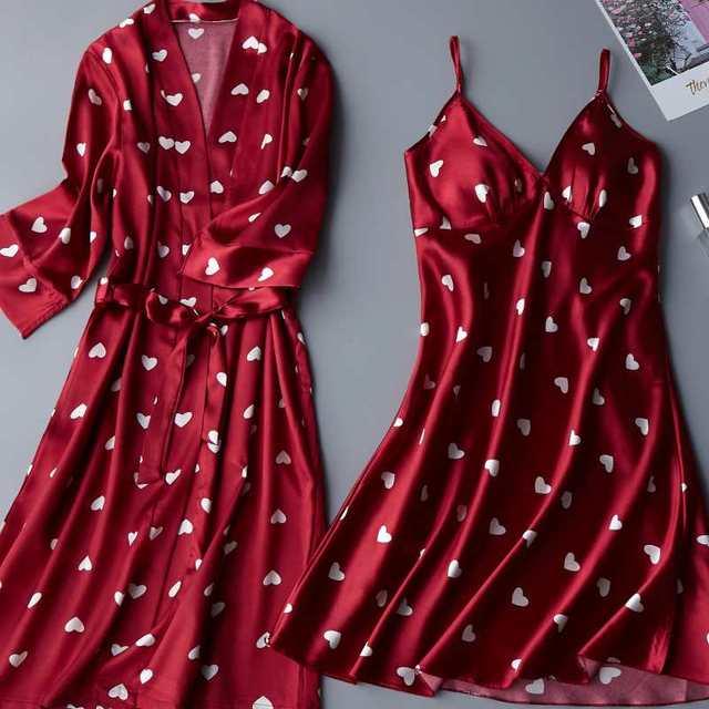 2PCS(basic+outwear) Night Dress Women Women Lace Satin Sleepwear Babydoll Lingerie Nightdress Sexy Sleepwear Nighties For Women