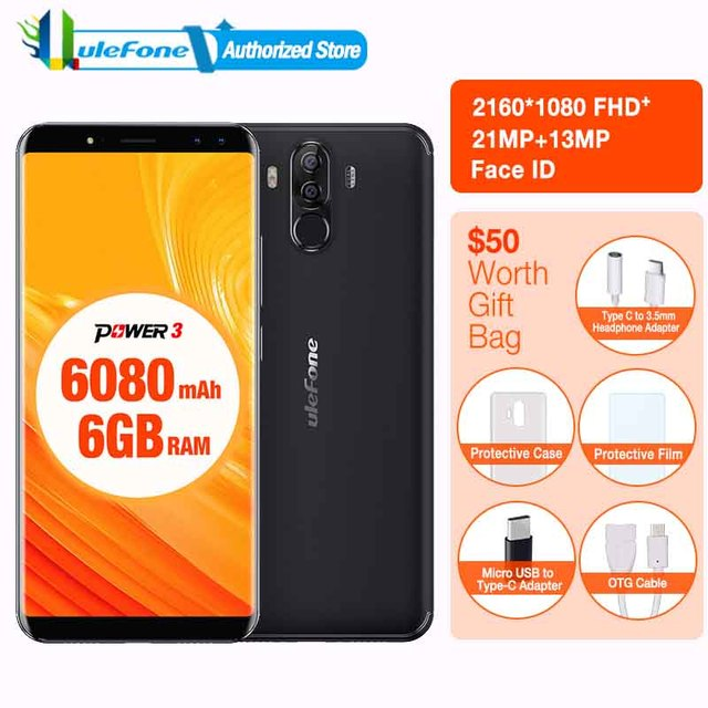 "Ulefone Power 3 6.0""18:9 Full Screen Smartphone 6080mAh 6GB 64GB MT6763 Octa Core Face ID Four Camera21MP Android 7.1 phone"