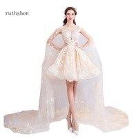 Ruthshen Prom Dresses Tanie Długi Wysoka Neck Lace Aplikacje z Koralików Eleganckie Suknie Wieczorowe Formalne 2018 Nowy