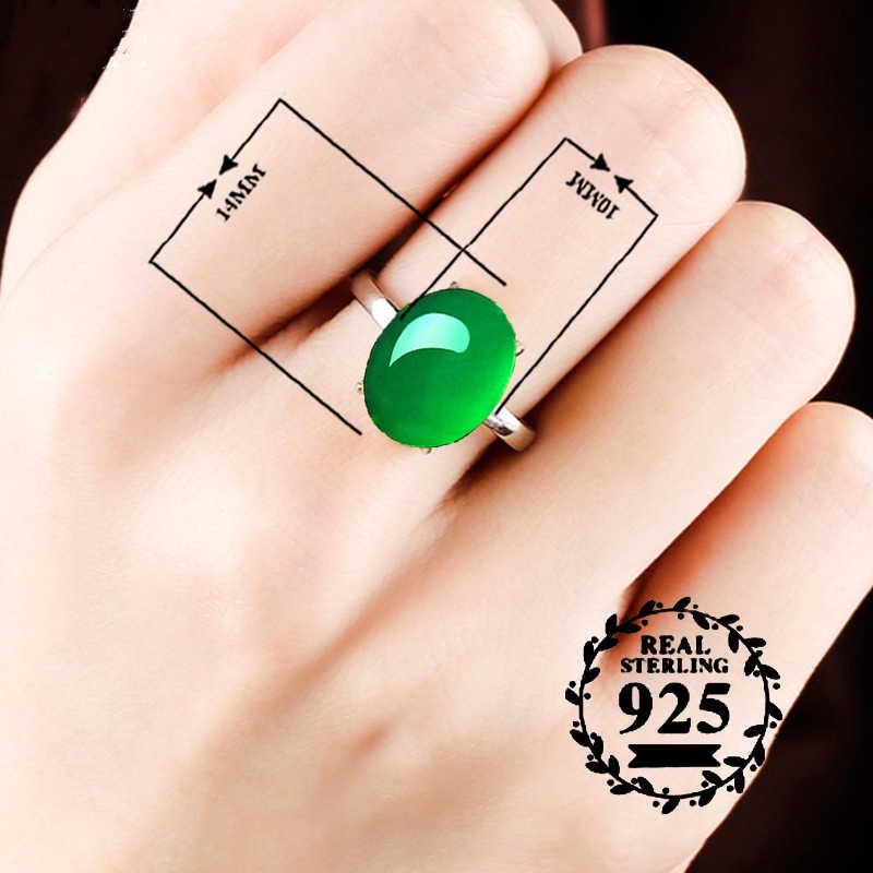 10*14 มม.ไม่ปลอม S925 เงินสเตอร์ลิง Asia แหวนมรกตหยก moldevite Chinatown โคลอมเบีย Retro อัญมณี