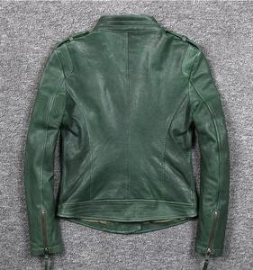 Image 2 - Womens slim fit fashionable genuine leather jacket green stand collar short moto biker leather jacket women sheepskin coat