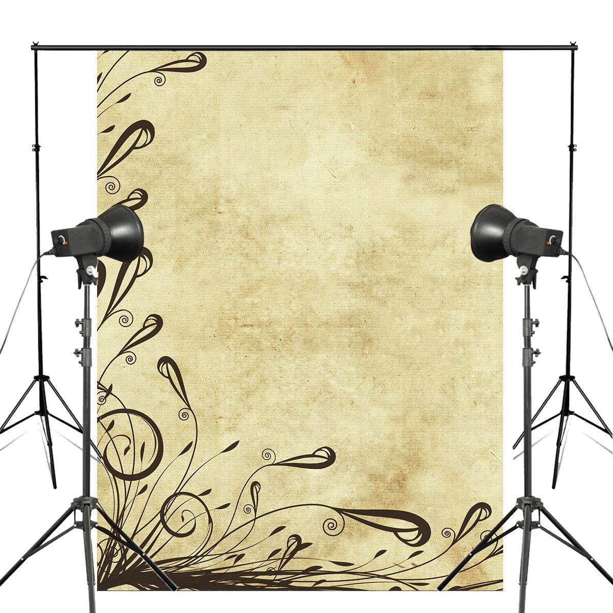 5x7ft Vintage Old Parchment Yellow Photography Backdrop Grass Background Kids Photo Studio Wall