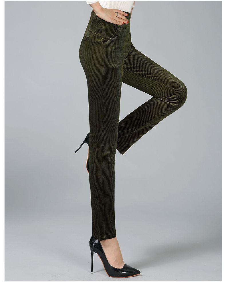Women Elegant Striped Velvet Pants Slim Fit Corduroy Trousers Woman Red Green Black Blue Pant Bottoming Trouser Lady (18)