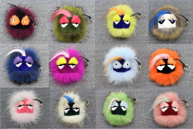 1PCS Real Fur Monster Pom Pom Fur Balls Doll Ball Key ring key chain Bag bugs car Charm Fur pom pom Keychain Fashion Accessories