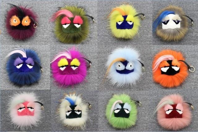 1PCS Real Fur Monster Pom Pom Fur Balls Doll Ball Key ring key chain Bag bugs car Charm Fur pom pom Keychain Fashion Accessories