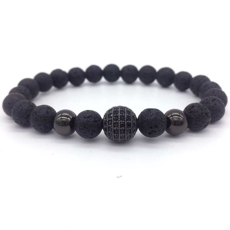 2017 New Fashion High Quality Lava Stone Beads And Black ...