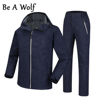 Be A Wolf Winter Hiking Softshell Jackets Pants Men Outdoor Fishing Clothes Camping Skiing Rain Windbreaker