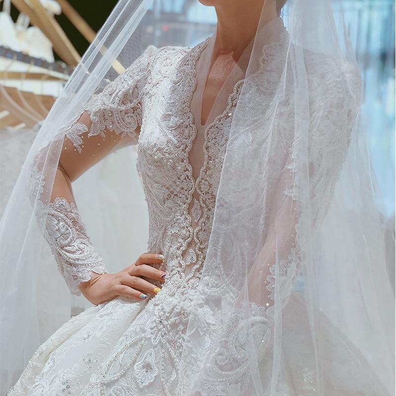 2019 Elegant V Neck Long Sleeve Lace Muslim Wedding Dress For Bride Islamic Gowns Wedding Bridal