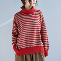 High Quality Harajuku Casual Boho Cotton Striped Turtleneck Batwing Sleeve Knit Oversized Sweater Autumn Women Sweaters Pullover