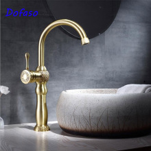 Dofaso copper retro basin faucet cold and hot water carved natural color kitchen mixer taps
