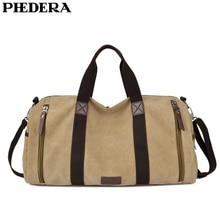 PHEDERA Canvas Travel Duffle Bag Large Casual Men Handbags Khaki Black Coffee Male Shoulder Bags цена 2017