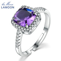 Lamoon 7mm 1 5ct Natural Square Cut Purple Amethyst 925 Sterling Silver Engagement Ring Women Jewelry