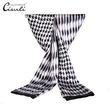 CISULI шелк атлас длинный шарф для мужчин 26X160 см Desigual классический Печатный узор серый цвет новые тренды
