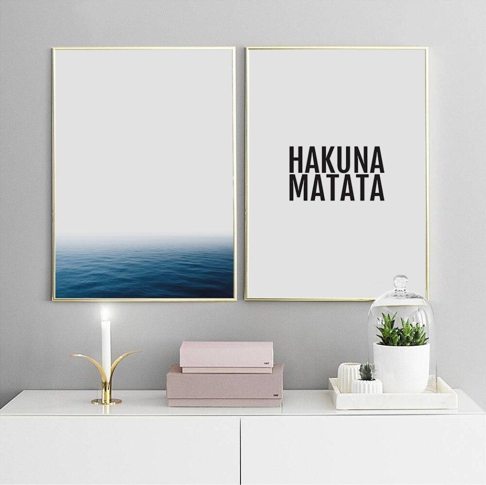 HAKUNA MATATA Ocean Nordic Scandinavian Decor Art Decor Posters and Prints Wall Picture for Living Room Wall Art Canvas Print
