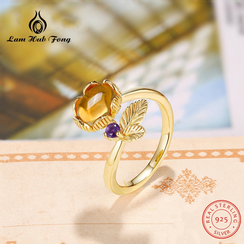 Lovely Leaf Natural Gemstone Ring Citrine Rings for Women 925 Sterling Silver Original Jewelry Adjustable Fine Gifts