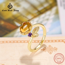 Lovely Leaf Natural Gemstone Ring Citrine Rings for Women 925 Sterling Silver Original Jewelry Adjustable Fine Jewelry Gifts leige jewelry natural citrine ring pear cut engagement wedding rings yellow gemstone for women 925 sterling silver fine jewelry