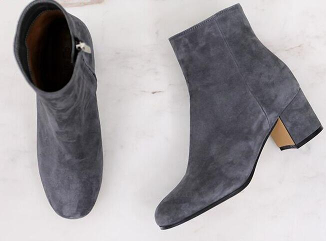 Fashion Gray Suede Leather Women Round Toe Ankle Boots Zipper Side Med Square Heel Ladies Knight Style Boots Spring Hot Boots trusify 2017 oh attraction cow leather ankle zip short boots square toe med strange style european style boots