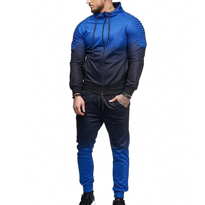ZOGAA New Casual Men's Set Tracksuit Outwear Sport Track Suit European American Male Fitness Long Sleeve Sweatshirts Pants Set