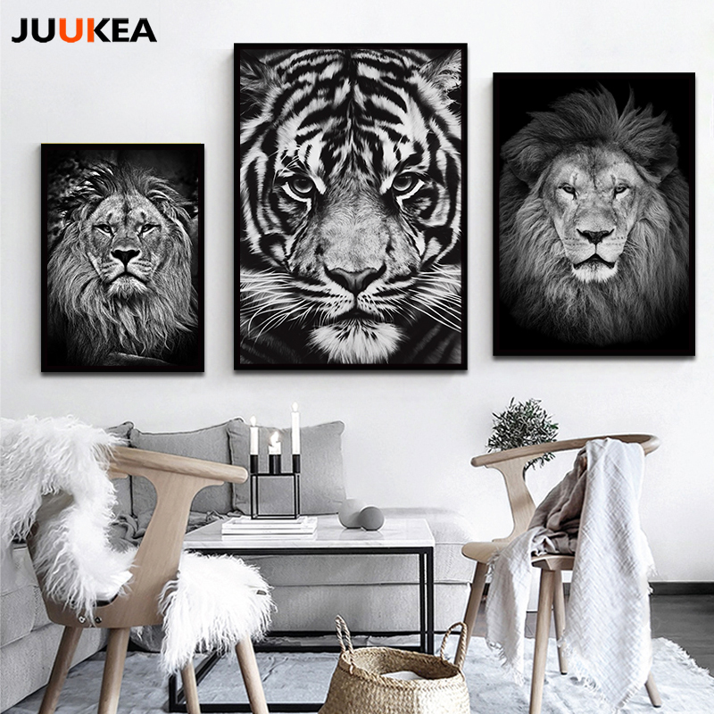 Modern distinctive black white animal tiger lion face hd for Photography prints for sale