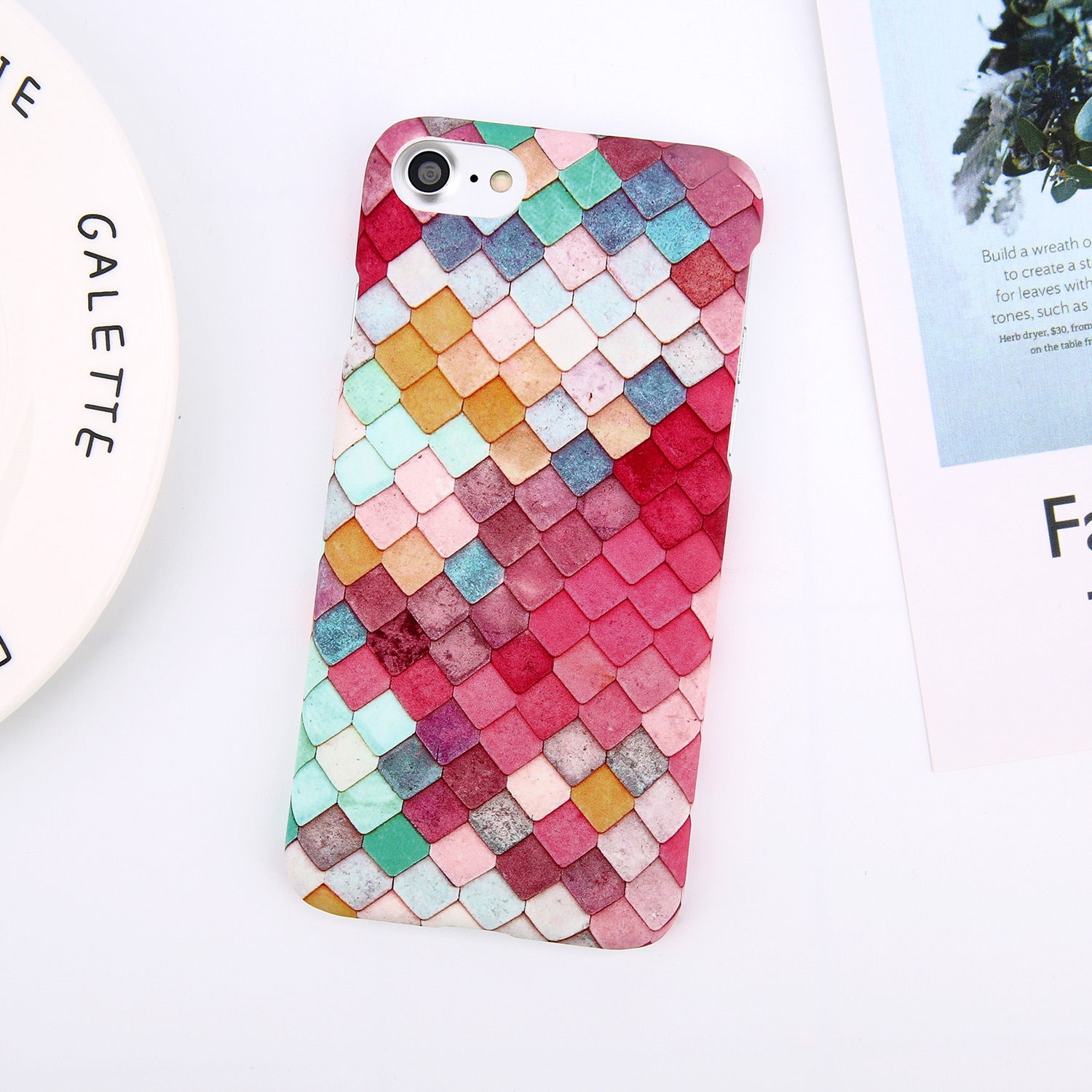 Moskado For iphone 7 XS MAX XR X Leaves Pineapple Phone Case For iphone 8 7 6 6s Plus 5 5s Flower Geometric Cases Hard PC Cover