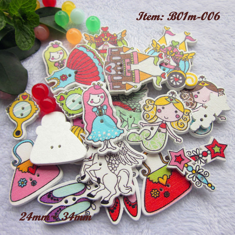 144pcs One shape / mixed 7-10 shapes Cinderella series wooden buttons cartoon buttons for craft scrapbook wedding decor things