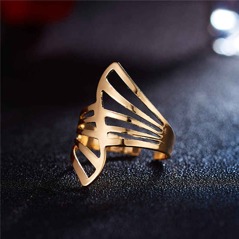2019 New Fashion Gold Geometric Hollowed Out Opening Ring  For Women Punk Alloy Finger Rings Simple Boho Jewelry