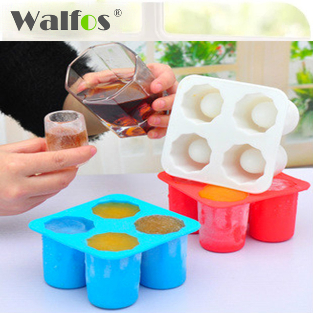 WALFOS REAL Food Grade Silikon 4 Cup Eisform Tray Mould Popsicle Mold Schnapsglas Maker Gefrierschrank