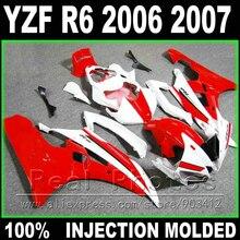 Высокое качество Кузов для Yamaha R6 комплект обтекателей 2006 2007 литья под давлением красный белый 06 07 YZF R6 обтекатели