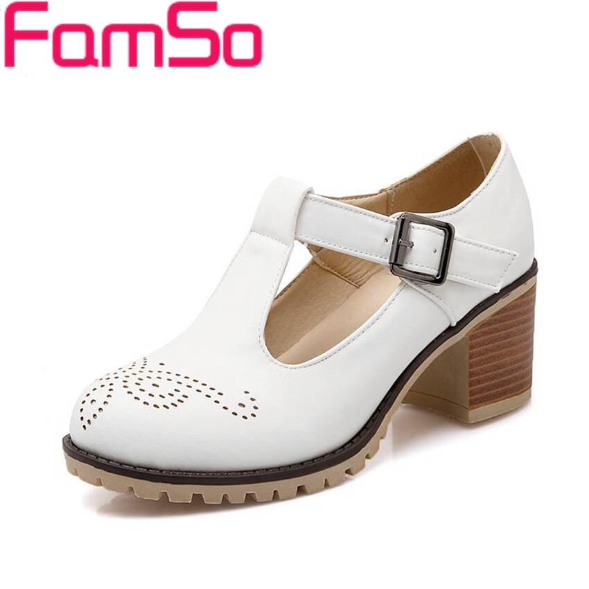 Plus Size34 43 2016 New Spring Autumn Single Shoes Buckle T Strap Pumps Thick Heels Sandals