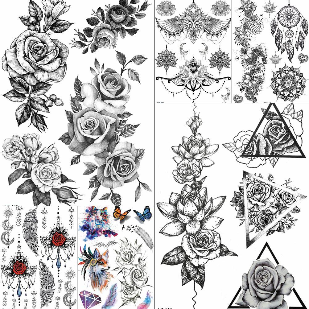 Triangle Black Large Rose Flower Temporary Tattoos For Women BIg Arm Stickers Bohemia Custom Tattoo Waterproof Fake Tatoo Paper